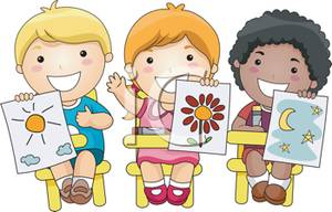 Three_Kids_Showing_Off_Their_Artwork_Royalty_Free_Clipart_Picture_110403-143405-477053